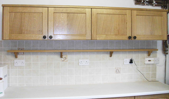 Kitchen Wall Units Made With Ash Carcases And Oak Doors And Trim Finished  In Clear Lacquer.